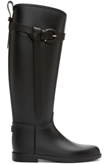 Burberry - Black Roscot Riding Rainboots