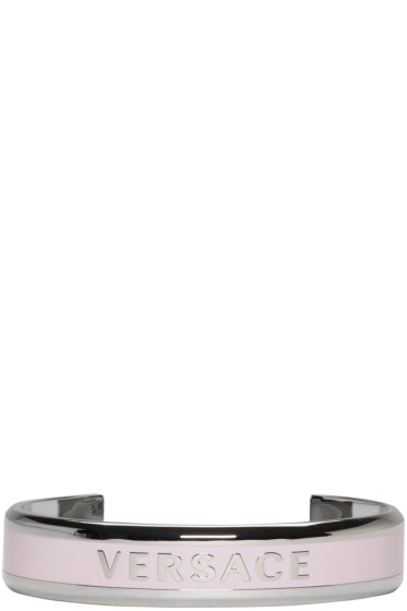 Versace - Silver & Pink Logo Bracelet