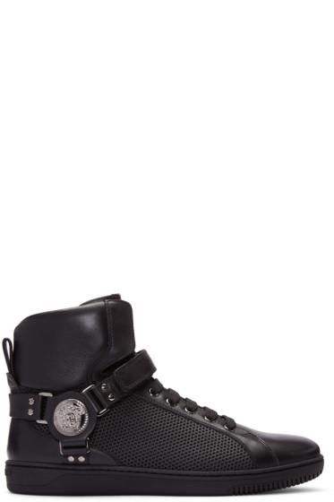 Versace - Black Leather & Mesh High-Top Sneakers