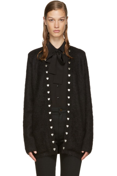 Saint Laurent - Black Mohair Hearts Cardigan