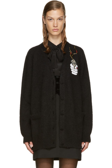 Saint Laurent - Black Embroidered Cardigan