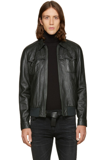 Saint Laurent - Green Leather 70's Teddy Jacket