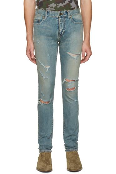 Saint Laurent - Blue Original Low Waisted Destroyed Skinny Jeans