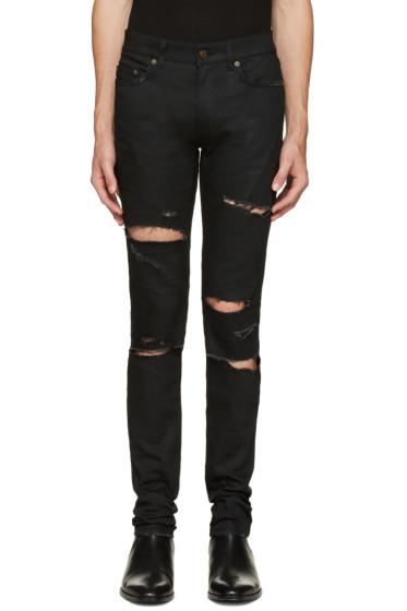 Saint Laurent - Black Original Low Waisted Destroyed Skinny Jeans