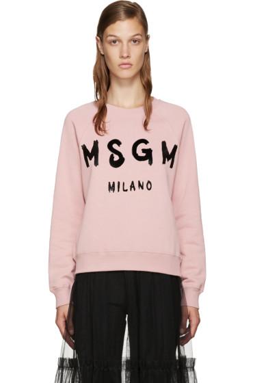 MSGM - Pink Painted Logo Sweatshirt