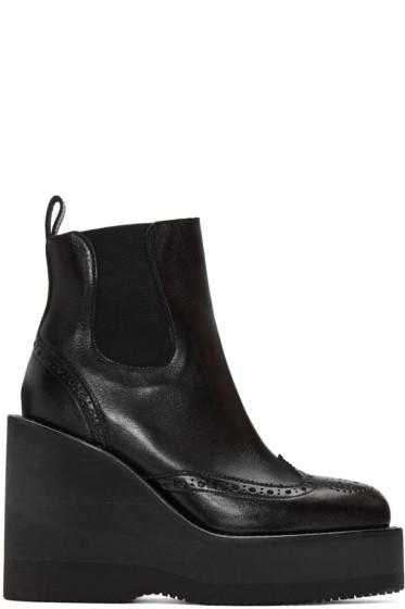 Sacai - Black Brogue Wedge Boots