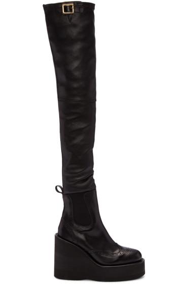 Sacai - Black Brogue Over-the-Knee Boots