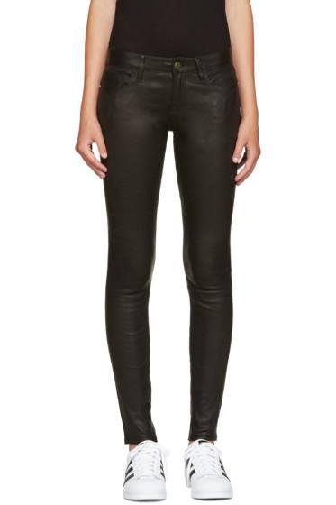 Frame Denim - Black Leather Le Skinny de Jeanne Pants