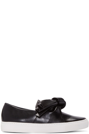 Cédric Charlier - Black Leather Bow Slip-On Sneakers
