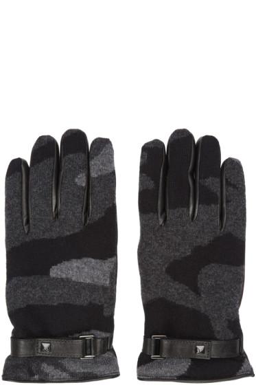 Valentino - Grey Cashmere Camo Gloves