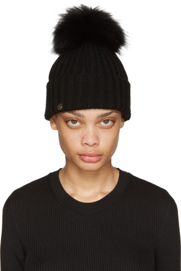 Yves Salomon - Black Fur Pom Pom Beanie