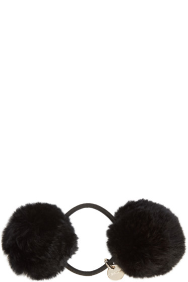 Yves Salomon - Black Fur Pom Pom Hair Tie