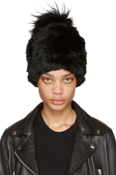 Yves Salomon - Black Knit Fur Beanie