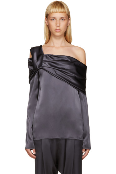 Baja East - Grey Draped Satin Blouse