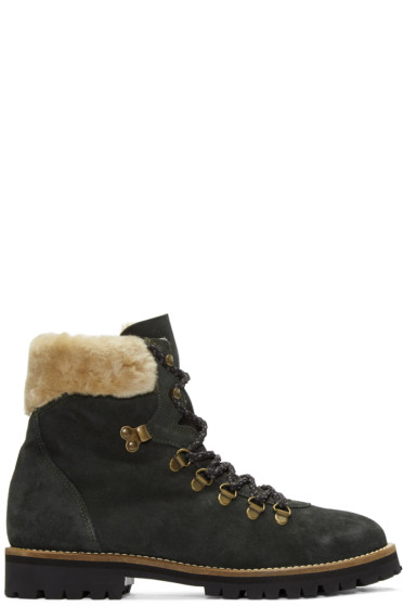 Mr & Mrs Italy - Green Shearling Ankle Boots