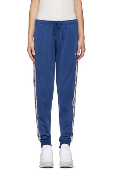 Champion Reverse Weave - Blue Logo Track Pants