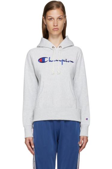 Champion Reverse Weave - Grey Logo Hoodie