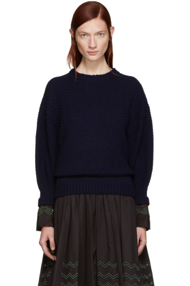 Harikae  - Navy Wool Cuffs Sweater