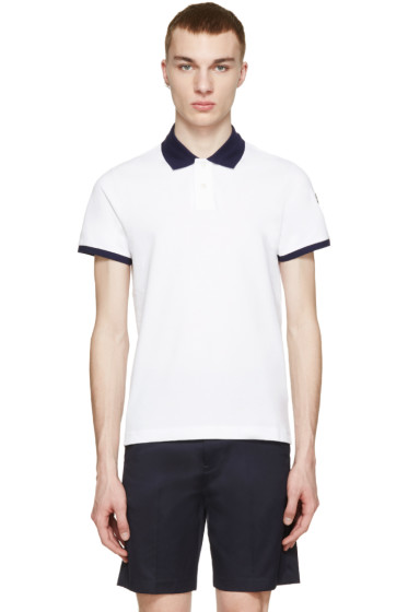 Moncler - White Contrast Collar Polo