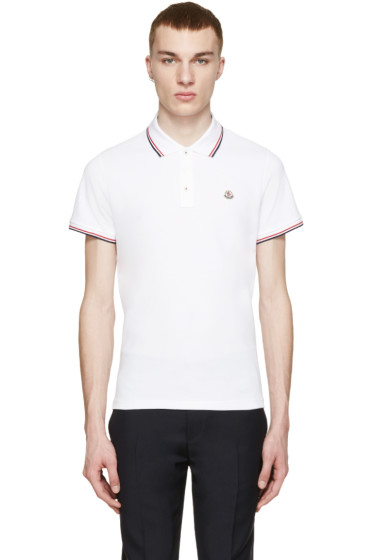 Moncler - White Tricolor Trim Polo