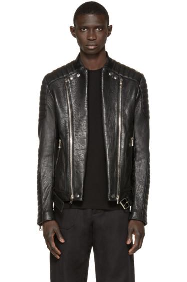 Balmain - Black Leather Biker Jacket