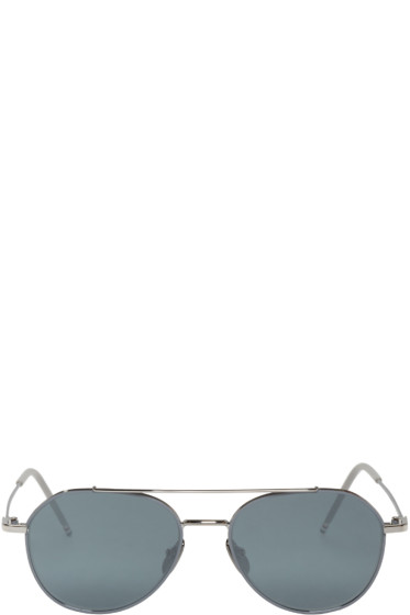 Thom Browne - Grey & Silver TB-105 Aviators