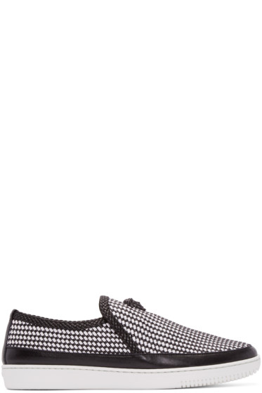 Versace - Black & White Leather Woven Slip-On Sneakers