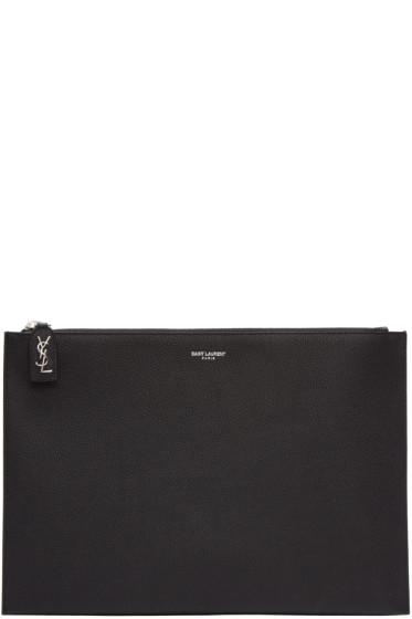 Saint Laurent - Black Leather Rive Gauche Zip Pouch