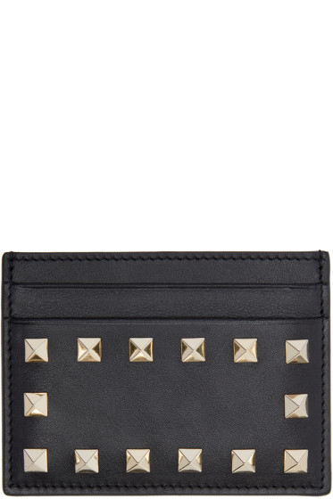 Valentino - Black Leather Rockstud Card Holder