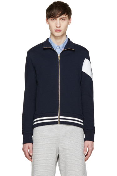 Moncler Gamme Bleu - Navy & White Zip Up Sweater