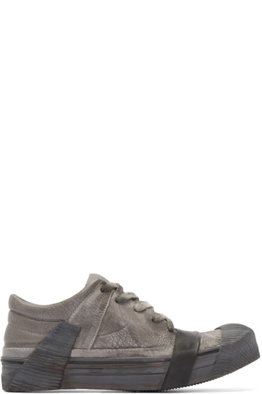 Boris Bidjan Saberi - Grey Leather Bamba 3 Sneakers