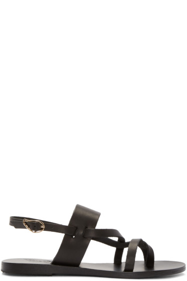Ancient Greek Sandals - Black Leather Alethea Sandals
