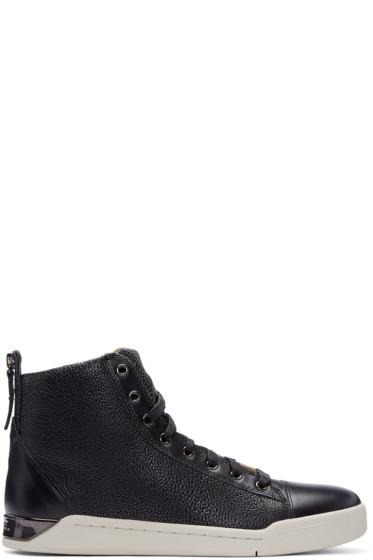 Diesel - Black Pebbled Diamond High-Top Sneakers