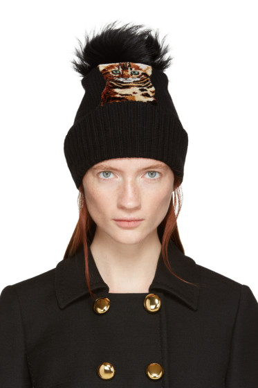 Dolce & Gabbana - Black Fur-Trimmed Cat Beanie