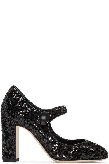 Dolce & Gabbana - Black Sequinned Mary Jane Heels