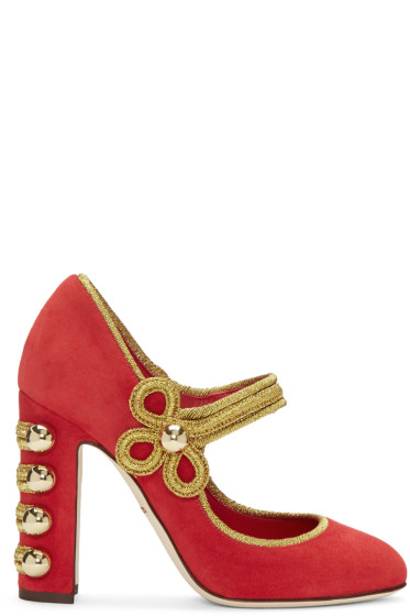 Dolce & Gabbana - Red Suede Military Mary-Jane Heels