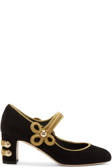 Dolce & Gabbana - Black Suede Military Mary-Jane Heels