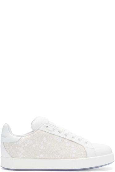 Dolce & Gabbana - White Leather & Lace Sneakers