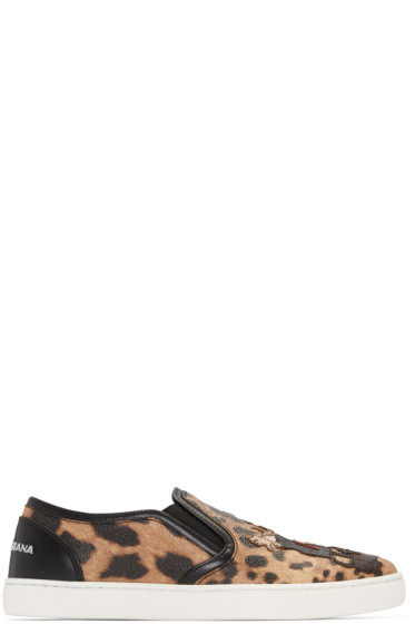 Dolce & Gabbana - Black & Tan Leopard Print Slip-On Sneakers
