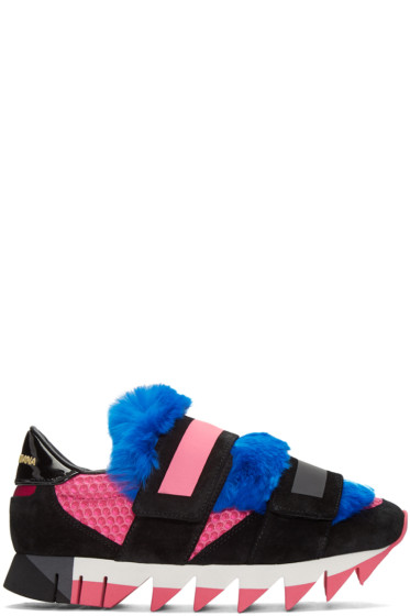 Dolce & Gabbana - Tricolor Fur Velcro Sneakers