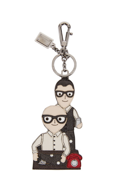Dolce & Gabbana - Black Leather Designers Keychain