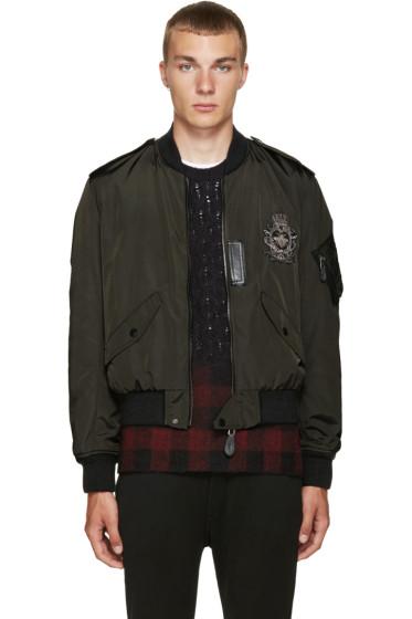 Dolce & Gabbana - Grey Nylon Embroidered Bomber Jacket