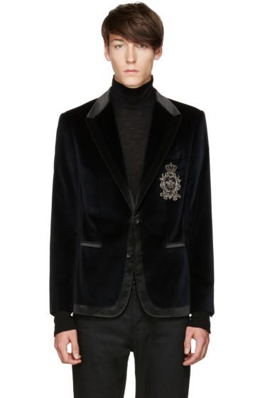 Dolce & Gabbana - Blue Velvet Crest Blazer