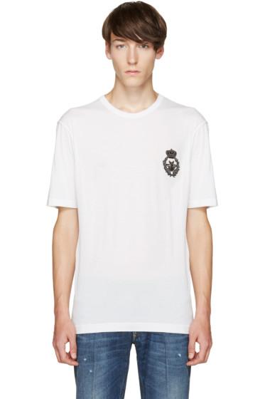 Dolce & Gabbana - White Bee & Crown T-Shirt