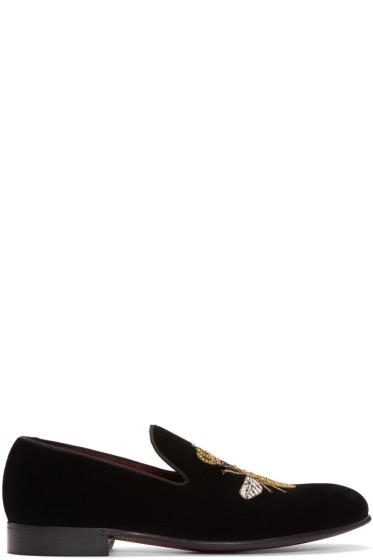 Dolce & Gabbana - Black Velvet Bee Loafers