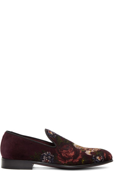 Dolce & Gabbana - Burgundy Velvet Floral Loafers