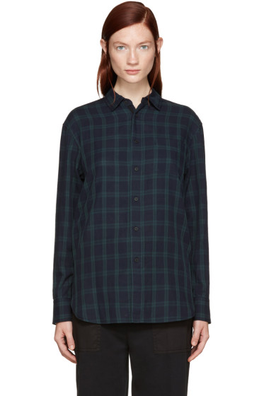 Rag & Bone - Navy Plaid Boyfriend Shirt