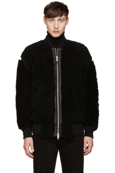 Diesel Black Gold - Black Shearling Bomber Jacket