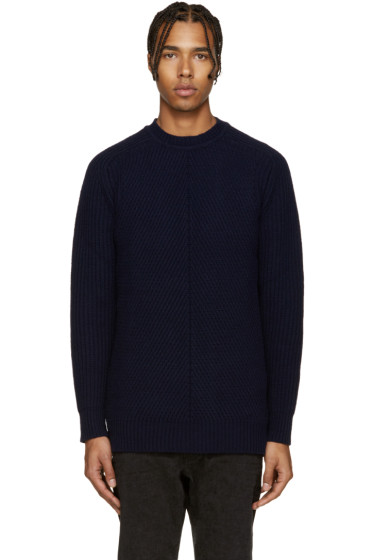 Diesel Black Gold - Navy Wool Multi Gauge Sweater