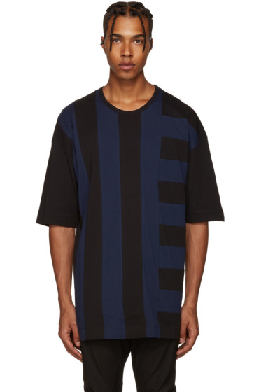 Diesel Black Gold - Blue & Black Panelled T-Shirt